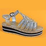 Espadrilles сандалий ЕВА серебряной толщиной платформы женщин единственные