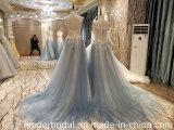 Голубое платье выпускного вечера Tulle отбортовывая мантии B42 вечера партии шнурка