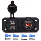 Comitato doppio impermeabile del voltmetro dell'adattatore 12V-24V LED del caricatore del USB 2.1A/1.0A per il fante di marina Carvan del crogiolo di automobile del motociclo