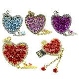 Stok USB van het Metaal van de juwelen van de Schijf van de Flits van de Vorm USB van het hart de Mini