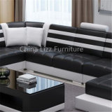 Grande sofà di cuoio d'angolo di figura contemporanea di U