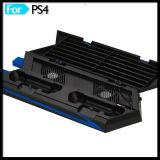 Vertikaler Kühlventilator-Standplatz für Konsole PS4 mit Controller-Aufladeeinheits-Platten-Regal