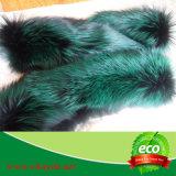 Greeの先端の贅沢で黒いFoxの長い毛皮のコートのフード
