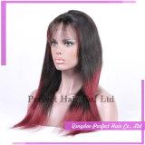 Парики девственницы шнурка красных Silk низкопробных человеческих волос полные