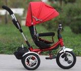 エヴァは動かす背部残り(OKM-1173)の子供の三輪車の子供の金属の三輪車を