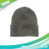 Sombrero de la gorrita tejida Plain Acrylic del bordado de señora Fashion Cuffed (047)