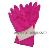 Luva cor-de-rosa do trabalho das luvas do látex do agregado familiar das luvas do látex da cozinha