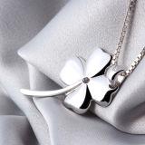 Trevo afortunado de um Silverfashion de 925 Sterling das mulheres - pendente Shaped da colar