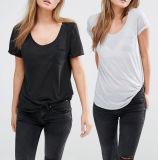 Bolso barato de Jersey da forma do poliéster no Tshirt dianteiro do T das mulheres