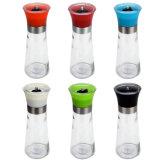 Laminatoio di pepe di vetro della spezia del sale una bottiglia di vetro dalle 4 once con il meccanismo e la protezione neri della smerigliatrice