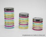 vaso di vetro di memoria dell'alimento 300-1000ml con il coperchio del metallo e dipinto a mano