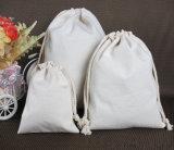 Double sac de toile de sac de bijou de coton de Drwastring de voie pour la nourriture
