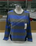 Kontrast-Farbstreifen-Frauen-Form-Kaschmir-Pullover-Strickjacke