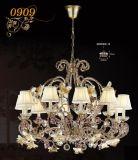 Luxuxmessing mit Kristall-u. Lampenschirm-Dekoration-hängender Lampe (MD0909-10)