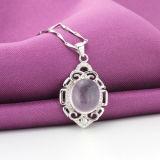 Ожерелье пинка камня лотоса стерлингового серебра женщин 925 кристаллический привесное с цепью