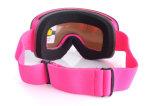 Anti lunettes de masque de ski de verres de sûreté de choc de lentille rose de PC