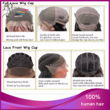 Cabelo humano da peruca cheia superior de seda peruana superior da peruca do Lce da classe