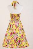 Американскими платья сбор винограда он-лайн желтыми напечатанные розами плюс размер для женщин