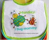 カスタマイズされたデザインロゴによって印刷される綿の漫画の白い赤ん坊のバンダナの胸当て