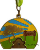 Andenken-Preis-Medaille, Oase 10k, Zoo-Lack-Läufer, EBB, antike Bronze