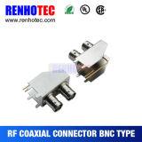 Rechtwinkliger Doppel-Verbinder der BNC weiblicher Verbinder Schaltkarte-Montage-BNC