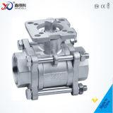 Robinet à tournant sphérique fileté de l'acier inoxydable DIN du constructeur Pn63 3PC