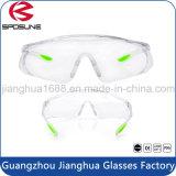 Los anteojos de seguridad elásticos ajustables del Ce En166 de los vidrios de la PC borran las extremidades de goma del templo de la lente