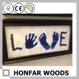 """bebé Footprint&Handprint del marco de madera del marco doble 5 """" X7 """""""