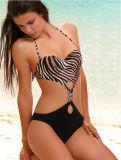 Neue Ankunfts-schöne Bikini-Badebekleidung einteiliges niedriges Waisted, das Klagenswim-Bikini-gesetzte Strand-Badebekleidung auf den Strand setzt