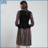 Костюмы способа жилетки платья туники печатание одежды новых женщин Lace-up
