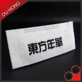 Escritura de la etiqueta tejida cañería recta colorida de encargo al por mayor del corte para la capa