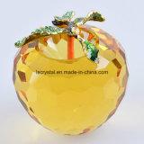 80mm grande di cristallo giallo Apple per il Paperweight della decorazione