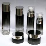 Skincareの包装のための高品質贅沢で黒いガラス装飾的なBottle&Jar (PPC-GBJ-019)