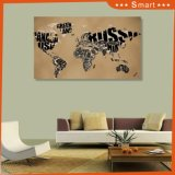 Карта мира сделанного UV пем напечатанная на панели стены для домашнего украшения