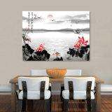 La salida del sol en la pintura china impresa inyección de tinta del lago para la decoración casera