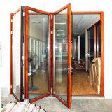 10 лет двери складчатости двойника гарантии качества стеклянной угловойой алюминиевой