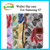 Britischer Art-Mappen-Kippen-Leder-Kasten für Rand Samsung-S7