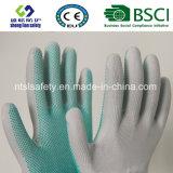 Перчатки безопасности работы полиэфира многоточий PVC