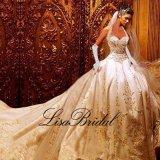 Vestido de casamento luxuoso nupcial Htb10 do bordado dos vestidos de esfera da cabeçada
