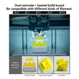 Ecubmaker 자유로운 필라멘트를 가진 이중 압출기 높은 정밀도 3D 인쇄