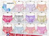 A chegada nova confortável ventila a roupa interior à moda Panty das senhoras da cuecas das raparigas Meados de-Rised da impressão da listra da cruz do algodão