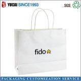 Bolso de compras blanco lechoso modificado para requisitos particulares de la bolsa de papel de Kraft