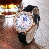 Horloge van de Manchet van de Bloem van het Leer van de goede Kwaliteit het Kleurrijke