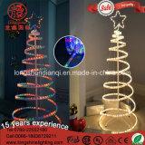 LED 옥외 정원 훈장을%s 번쩍이는 장식적인 3D 나선형 밧줄 크리스마스 나무 빛