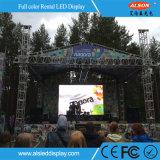 Im Freien wasserdichte hohe Helligkeit P10 Miet-LED-Bildschirmanzeige