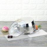 ステンレス鋼のガラスふたの誘導の台所鍋(FT-01814)