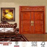 Portello di legno principale intagliato portello esterno di lusso della villa doppio (GSP1-016)