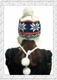 Нового Шлема жаккарда зимы повелительницы Earflap Вязать с шариками (1-3509)