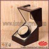 Rectángulo de joyería de madera de bolsillo con bisagras hecho a mano del reloj de la tapa