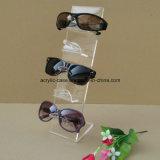 Présentoir clair en verre de lunettes de soleil de monocle de rangée de l'acrylique 3